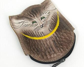 5 SALE // little cat change purse // vintage leather // folk art
