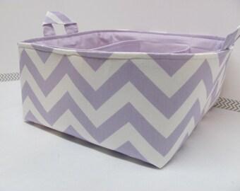 "Diaper Caddy - Fabric Storage Basket - 11""x11"" Organizer Bin - Storage box - Diaper Bag - Baby Gift - Nursery Decor - Lilac Chevron Zigzag"