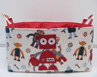 "Fabric Diaper Caddy - Appliqed ROBOT - Storage Container Basket - 11""x11"" Organizer Bin - Diaper Bag - Nursery Decor - Baby Gift - Robots"