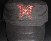 Ladies Embroidered Military Style Black Hat- Flaming Red Butterfly