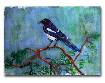 Bird Painting Magpie ACEO miniature fine art trading card contemporary acrylic painting with easel tiny art affordable gift for bird lover
