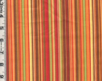 Fabric Clothworks Autumn Splendor Vertical Stripe COORDINATE ORANGE/green/brown/gold Fall colors