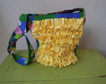 Cross Body Tote/ Handbag/ Purse/ Market Bag/ Ruffles/ Vintage Floral/ School Bag