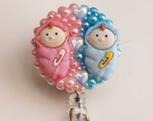 Cute Twins For A Pediatric Nurse ID Badge Reel - RN ID Badge Holder - Zipperedheart