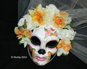 Day of the Dead Mask Wedding Mexican Veiled Corpse Bride Made Upon Order