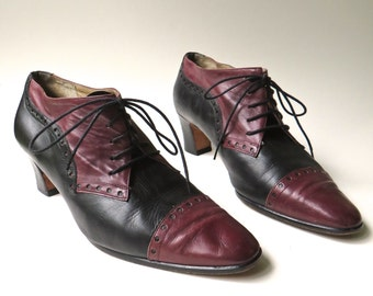 vintage Claudia Ciuti Burgundy and Black Perforated Leather Lace Up Ankle Booties / made in Italy