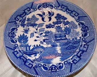 Vintage Willow Cobalt Blue Flow Ware Salad  or Cake  Plates  Set of Five  Made In Japan