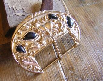 Vintage Gold and Black Elk Belt Buckle signed Revcor