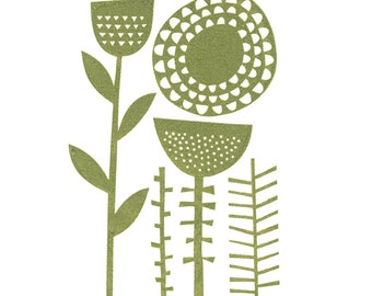 Seed Heads - Hand Pulled, Signed, Gocco Screenprint
