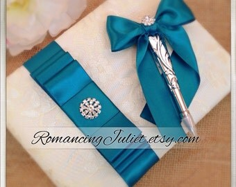 Lovely Satin and Lace Wedding Guestbook Set with Vibrant Rhinestone Accent..You Choose Your Colors..Shown in ivory/jade