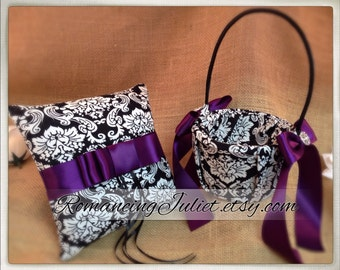 Waverly Ivory and Black Damask Flower Girl Basket and Ring Bearer Pillow Set...You Choose the Colors..shown in eggplant purple