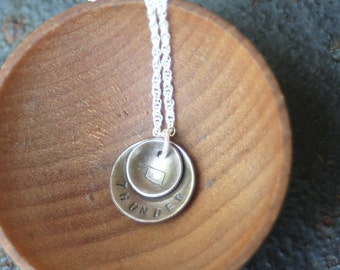 Oxidized Sterling Silver Hand Stamped OKLAHOMA THUNDER Sooner Cowboy Domed Disc Necklace