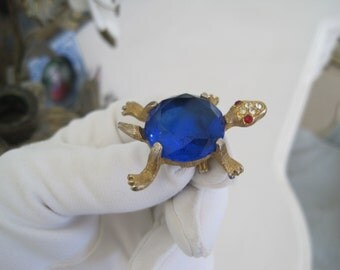 Adorable Turtle Brooch Pin Cut Glass Shell Sapphire Blue Cobalt Blue Mid Century
