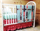 Crib Bedding, Between Lines Quilt and 3 Tier Skirt, Girl, READY to SHIP, Aqua and Coral