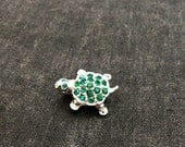 VIntage Miniature Turtle Brooch Silver with Emerald Green Crystals