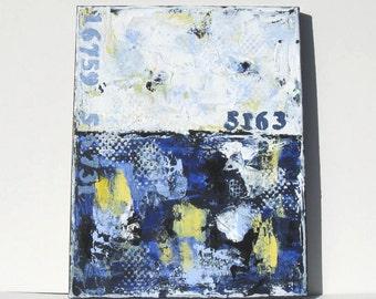 "Nautical Blue Acrylic Abstract Painting, Beach Cottage Decor, 11"" x 14"""