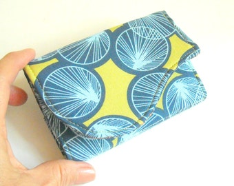 Business Card Wallet in Chartreuse and Navy Fabric - Lily Pads