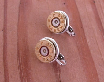 Bullet Jewelry - Bullet Casing Jewelry - Clip-on Earrings - 44 Magnum Bullet Casing Clip-on Earrings