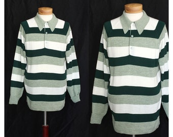 Vintage 60s Striped in Green Mens Polo Sweater