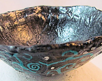 Bowl - Paper Mache, Silver with design in  teal, black and white. Decorative table art.