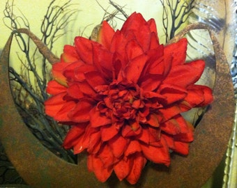 Red Dahlia Flower Hair Clip