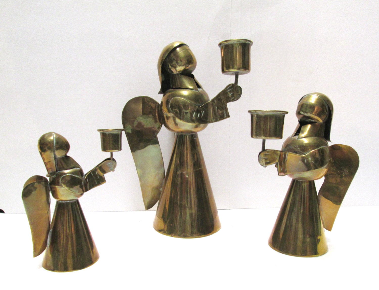 Brass Candlesticks Angels Vintage Christmas Candle Holders