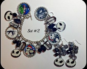 Nightmare Before Christmas Jack Skellington Charm Bracelet & Earring Set #2 Jack and Sally set