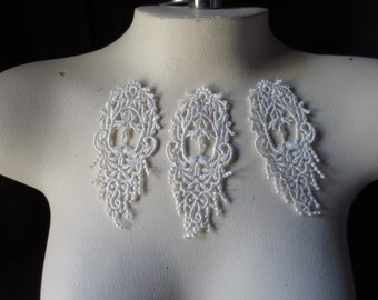 3 Lace Appliques in Ivory Cream Venice Lace for Lace Jewelry, Bridal, Costumes, Hand Dyeing
