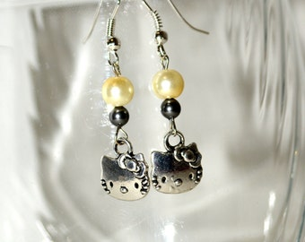 Cat Earrings, Colorful Earrings, Silver Kitty Cats, Boho Earrings, Cat Lover Jewelry, Czech Bead Earrings, Kitty Earrings