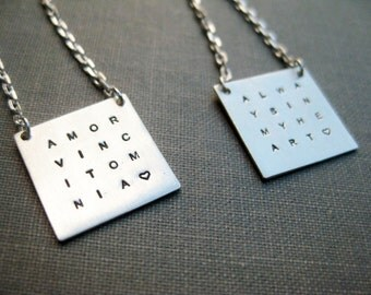 Set of 2 Personalized Grid Necklaces - Sterling, Stamped, Personalized, Mother, Family, Quote, Wisdom Necklace