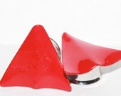 "OOAK Funky Vintage Red Triangle Plugs 5/8"" 9/16"" 1/2"" 12mm 13mm 14mm 16mm"
