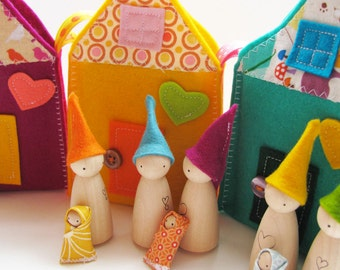 Waldorf toys all natural- Sweet little travelling gnome family house - ORANGE
