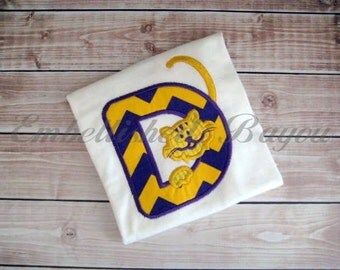 Tiger Initial Applique T-shirt or Onesie for Girls or Boys