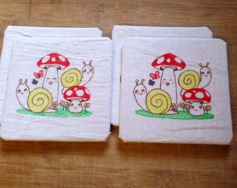 Markdown: Toadstools and Snails Coasters