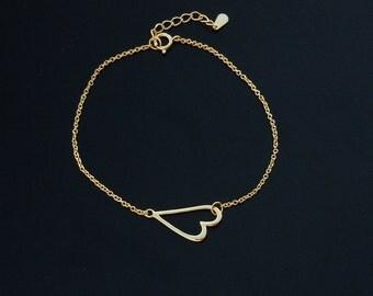 Sideways Heart Bracelet- Sterling SIlver or Gold