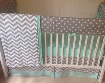 Crib Bedding Bumperless in Mint and Gray Made to Order