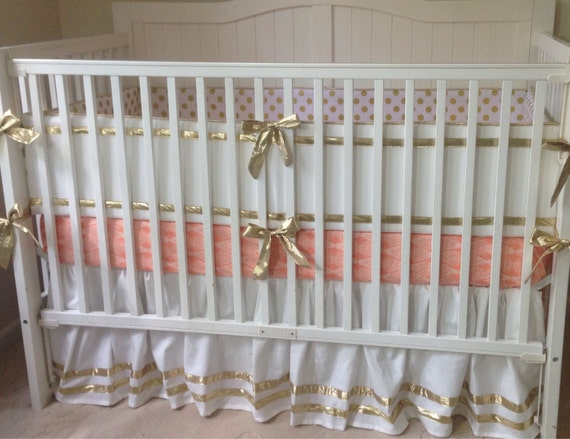 Gold and peach crib bedding set for Peach and gold bedroom