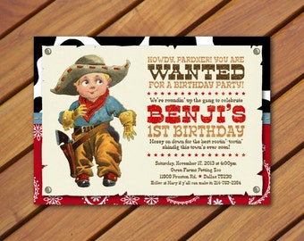 PRINTABLE Vintage Cowboy Birthday Party Invitation and Coordinating Back Pattern
