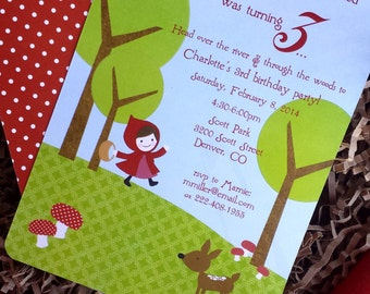 PRINTABLE Little Red Riding Hood party pack - invitations, thank yous, favor tags, food labels, cupcake toppers, garland