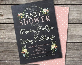 PRINTABLE Vintage Chalkboard Baby Shower invitation