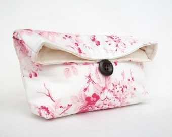 Makeup Bag, Ivory and Pink Floral Clutch Purse, Great for Travel, Gift Under 25, Pink Bridesmaid Gift, Bridal Clutch, Girly Feminine