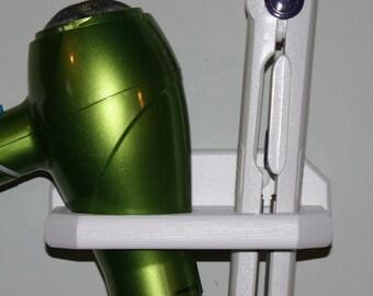 Bathroom Organizer Hair Blow Dryer Straightener Flat Iron Brush Holder Bath Salon Storage 2 Hole Shelf USA DI-E