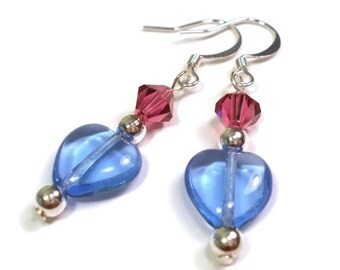 Heart Earrings - Blue Heart and Crystal Sterling Silver