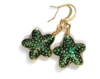 Starfish Earrings - Green Cloisonne