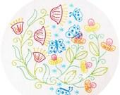 Flutterby Garden - Butterflies and flowers Embroidery Pattern - PDF