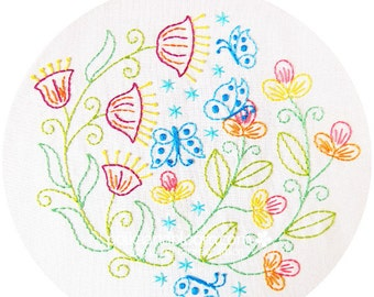Flutterby Garden - Butterflies and flowers Embroidery Pattern - PDF