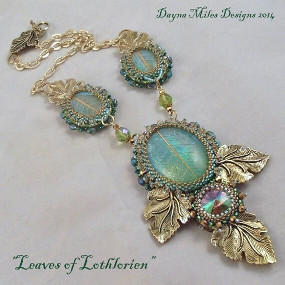 Leaves of lothlorien bead embroidery statement necklace