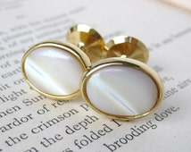 Cufflinks Vintage Ivory Mother of Pearl Gold Cuff Links Oval Studs