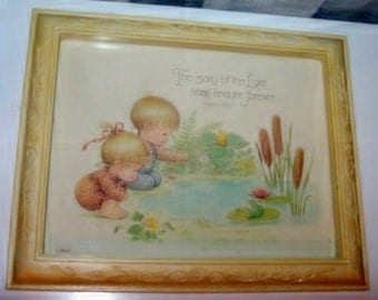 Framed Picture of a Darling Boy and Girl by the Pond