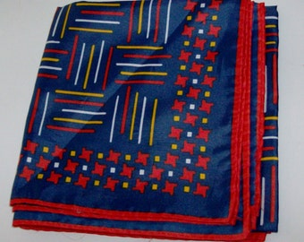 Navy, Red, and Gold Square Scarf with Geometric Pattern